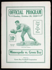 1929 Green Bay Packers Football Program with Curly Lambeau Cover