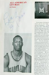 Len Bias Autographed Signed 1985-86 Maryland Basketball Program