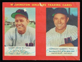 1953 Briggs Hot Dogs Baseball Card Panel with Coan & Marrero