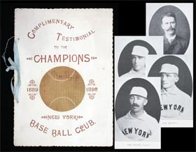 1889 New York Giants Championship Testimonal Pamphlet