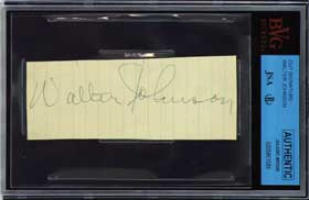 Walter Johnson Autographed Signed Paper Huge Large