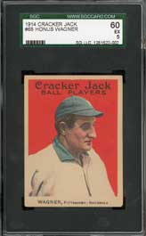 1914 Cracker Jack Honus Wagner Baseball Card SGC 60 EX 5