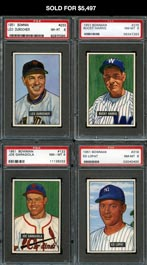 1951 Bowman Baseball PSA NM-MT 8 Graded Starter Set of (106) Cards Plus Dupe
