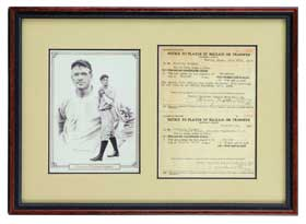 Christy Mathewson Signed Autographed Baseball Owners Transfer Sheet