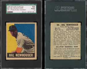 1948 1949 Leaf Hal Newhouser New Baseball Card Discovery Prototype Variation 1 of 1
