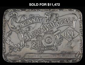 Extremely Rare and Ornate 1899 Cincinnati Reds Sterling Silver Season Pass