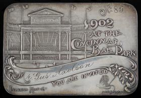 Scarce and Ornate 1902 Cincinnati Reds Sterling Silver Season Pass - First Year for Palace of the Fans Ballpark
