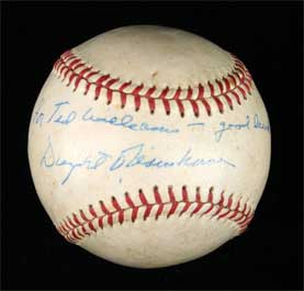 Dwight Eisenhower Signed Autographed Baseball Personalized to Ted Williams