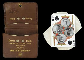"Incredibly Rare and Unique 1897 Cincinnati Reds Leather-Bound ""Souvenir"" Season Pass with Game Scorers/Playing Card Deck - Issued to John T. Brush's Daughter"
