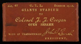 Extremely Rare 1912 New York Giants Leather-Bound Season Pass and Manicure Kit for Colonel J.J. Coogan - Coogan's Bluff Namesake!