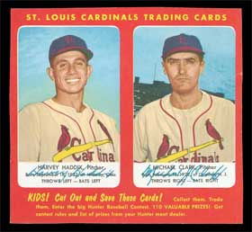 1953 Hunters Wieners Full Complete Baseball Card Panel Harvey Haddix and Michael Clark