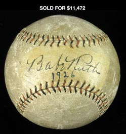 Striking Babe Ruth 1926 Single Signed Ball - Full JSA LOA