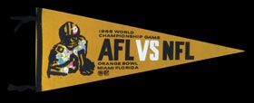 1968 Super Bowl II Rare AFL vs NFL Pennant with Stunning Graphics