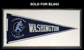 1906-1907 Washington Senators Rare Pennant in Framed Display
