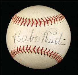 Babe Ruth Single-Signed Baseball - Gorgeous