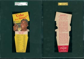 1952 Willie Mays Coca-Cola Playing Tips Test Card SGC 50