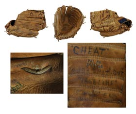 "Whitey Ford Game-Used Fielders Glove with ""Cheating"" Evidence"