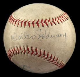 Walter Johnson Autographed Signed Baseball - Full JSA