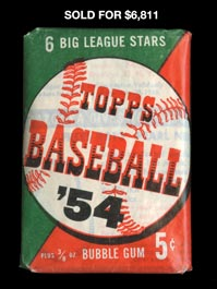1954 Topps Baseball Five-Cent (6 Card) Unopened Wax Pack