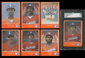 1980 Charlotte O's Police Orange Border Complete Set of (25) Cards with SGC 50 Cal Ripken Jr.