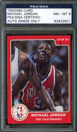 1984-85 Star Basketball #195 Michael Jordan Autographed Rookie Card--PSA/DNA NM-MT 8