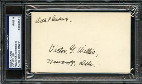 Vic Willis Signed Autographed Index Card - PSA 9