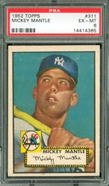 1952 Topps Mickey Mantle Rookie Baseball Card PSA EX-MT 6