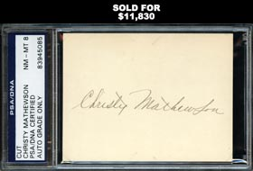 Christy Mathewson Boldly Signed Large Cut PSA/DNA 8