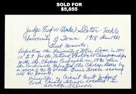 Duke Slater Handwritten Signed Index Card - First NFL African-American Lineman (1926)