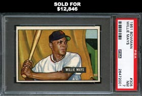 1951 Bowman Baseball #305 Willie Mays Rookie PSA NM 7