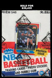 Pristine 1986-87 Fleer Basketball Unopened Wax Box of (36) Packs—BBCE Wrapped with LOA