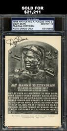 Rare Dizzy Dean Signed Black and White HOF Plaque Postcard - PSA/DNA GEM MINT 10