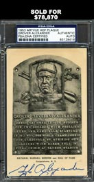 Ultra-Rare Grover Cleveland Alexander Signed Black and White HOF Plaque Postcard - PSA/DNA Authentic