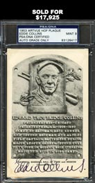 Rare Eddie Collins Signed Black and White HOF Plaque Postcard - PSA/DNA MINT 9