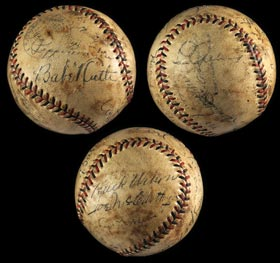 1932 Multi-Signed Baseball with (15) Signatures including Lou Gehrig, Rabbit Maranville, Bill McKechnie, Babe Ruth & Hack Wilson - Full JSA