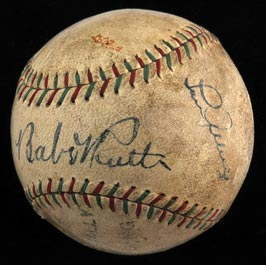 October 18, 1930 Babe Ruth and Lou Gehrig Dual-Signed Barnstorming Ball - Purported to be Bambino Home Run Ball