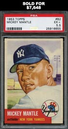 1953 Topps Baseball #82 Mickey Mantle PSA EX+ 5.5