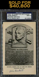 Ultra-Rare Jesse Burkett Signed Black and White HOF Plaque Postcard (PSA/DNA MINT 9) - 1 of 3 Known