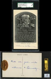 Rare Thomas H. Connolly Double-Signed Black and White HOF Plaque Postcard - SGC/JSA Authentic