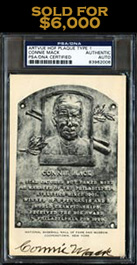 Scarce Connie Mack Signed Black and White HOF Plaque Postcard - PSA/DNA Authentic