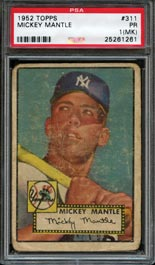 1952 Topps Baseball #311 Mickey Mantle Rookie PSA 1 (mk)