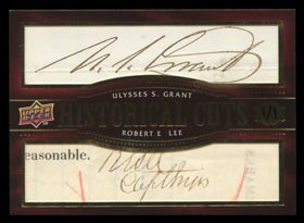 2007 UD Historical Cuts Signature Card: Ulysses S. Grant & Robert E. Lee - 1 of 1!