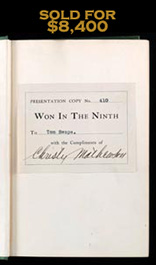 1910 Christy Mathewson Signed Autographed Book Won in the Ninth—Full JSA