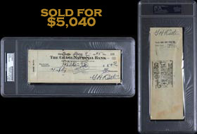 Babe Ruth Dual-Signed Twice Autographed 1940 Check - PSA/DNA Authentic