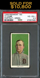 1909-11 T206 White Borders Ty Cobb (Green Portrait) PSA VG-EX+ 4.5