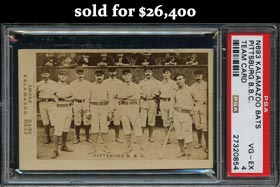 Newly Discovered 1887 Kalamazoo Bats Pittsburg B.B.C. Team Card PSA VG=EX 4 - One of Only Four Known!