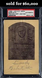 Extremely Rare Babe Ruth 1939-1943 Signed Sepia Hall of Fame Plaque Postcard - 1 of Only 4 Known!