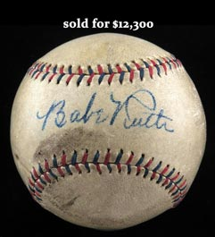 Striking Babe Ruth Single-Signed Autographed Baseball