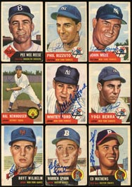 1953 Topps Baseball Signed Partial Set of (160/274) Cards with (16) Hall of Famers & Tough Deceased!