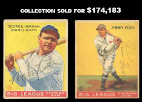 1933 Goudey Baseball Signed Autographed Card Collection of (150+) with Babe Ruth, Jimmie Foxx, Rogers Hornsby and Many More